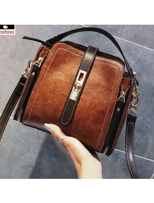 Elegant Double Zippers Single Buckle Women Handbag Shoulder Bag