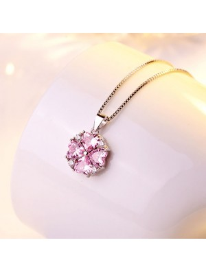 Elegant Valentine Gift Women's Clavicle Silver Necklace Love Heart Shape Crystal Pendant Necklace