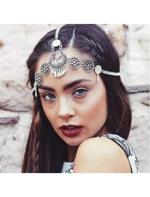 Vintage Engraving Drop Tassel Headband Ethnic Metal Hair Accessories
