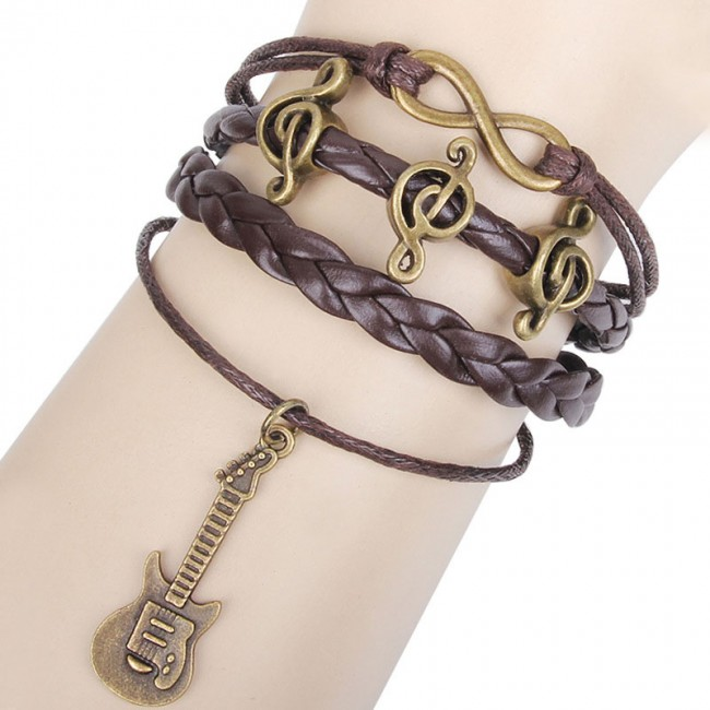 Vintage Gold Cross Leather Bracelet for Men Love Letter