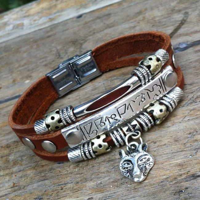 Wolf Charm Bracelet: Wolf Animal Charms Leather Bracelet Jewelry
