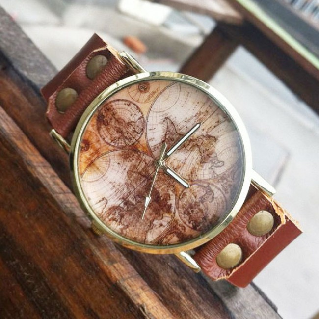 Retro World Map Leather Watch only $28.9 -ByGoods.com