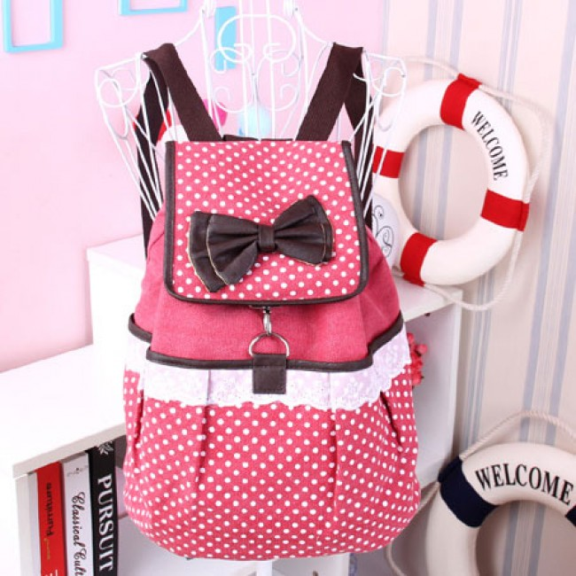 Cute Polka-dot Bow Lace Canvas Backpack | Fashion Backpacks ...