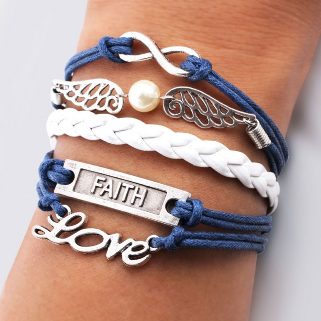 Charms And Bracelets: Wings Love Faith Pearl Infinity Bracelets