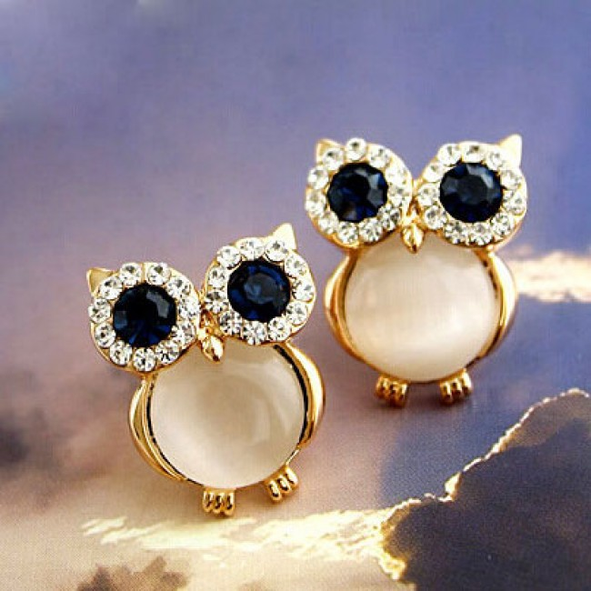 Cute Owl Opal Animal Stud Earrings Fashion Jewelry Bygoods Com