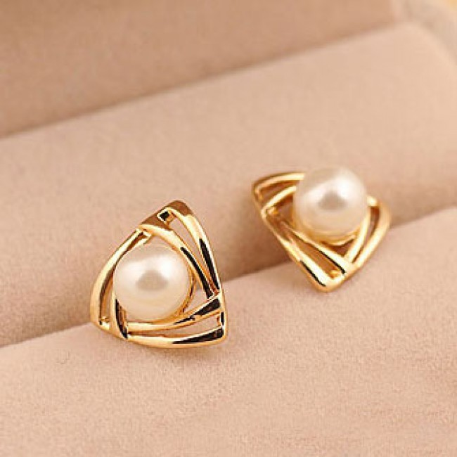 Cute Triangle Pearl Earring Studs Fashion Earrings Jewelry Bygoods Com