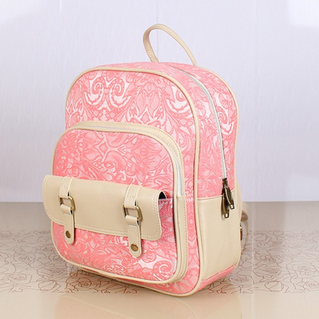Fresh Pink Lace Floral Rucksack Double Hasp