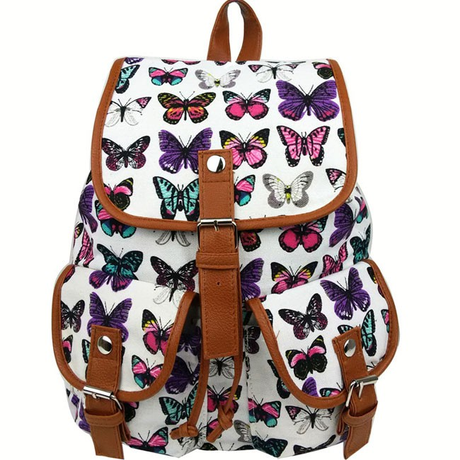 leisure butterfly print women rucksack two pockets college
