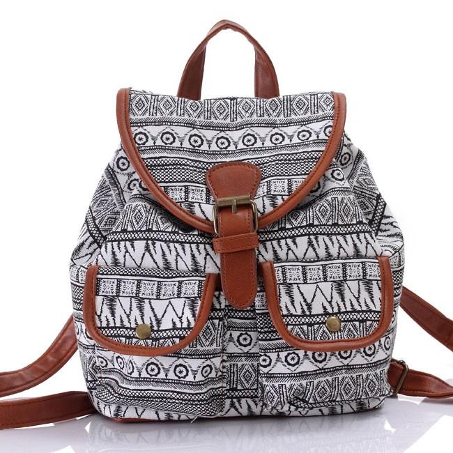 34140023c47 Unique Totem Floral Prints Women Rucksack Folk Irregular Canvas College  Backpack