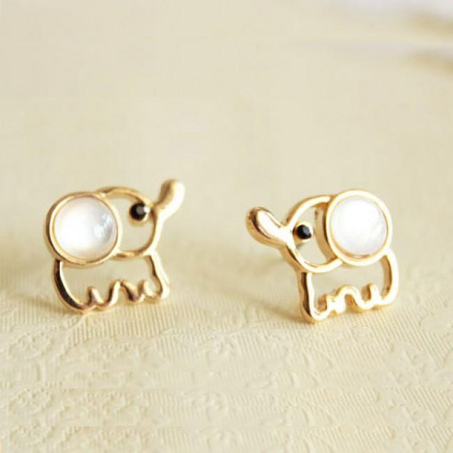 White Opal Lovely Elephant Earrings Studs