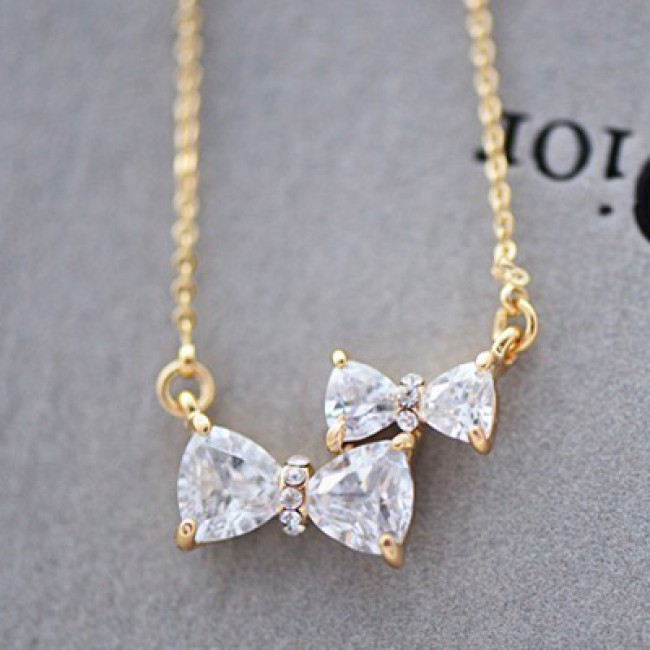 Cute Two Bowknot Rhinestone Pendant Necklace | Fashion ...