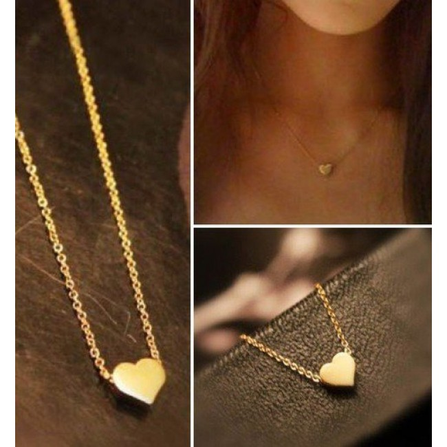 plated necklace shaped wholesale heart women jewelry for product hot mini rose ol gold pendant new