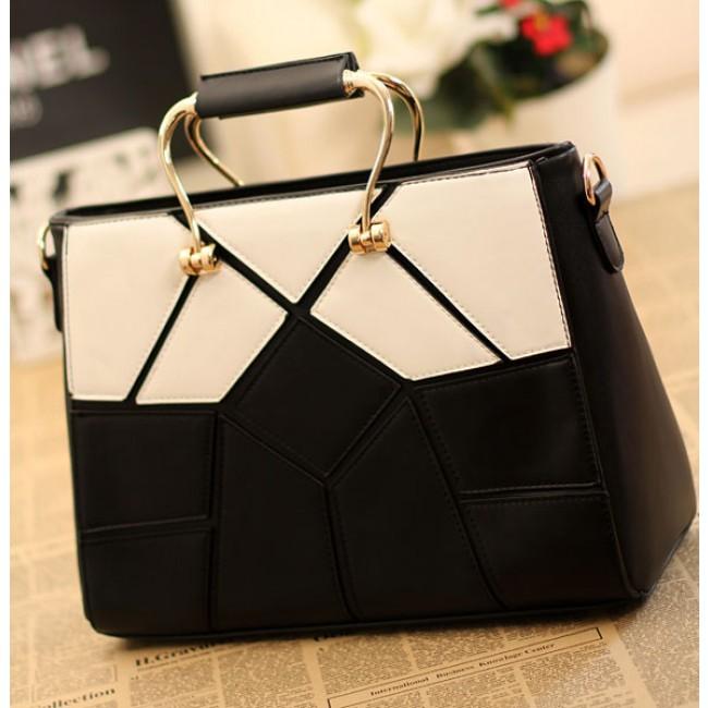 Unique Black White Joint Lattice Handbags Fashion Bags Bygoods Com