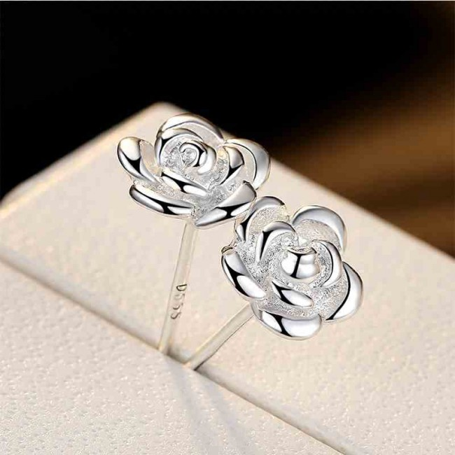 New Bauhinia Silver Studs Rose Flower Shaped Earrings Only 19 99 Bygoods