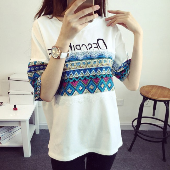 df44cfa433a Fashion Casual Loose Lace Geometric Pattern Round Neck Short Sleeve T-shirt  only $34.99 -ByGoods.com