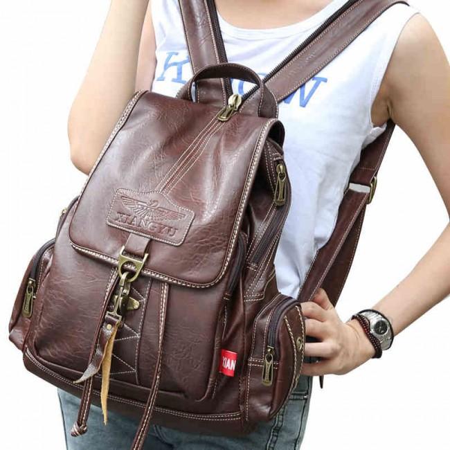 Vintage Brown Button Preppy Backpack School Bag Packsack | Fashion ...