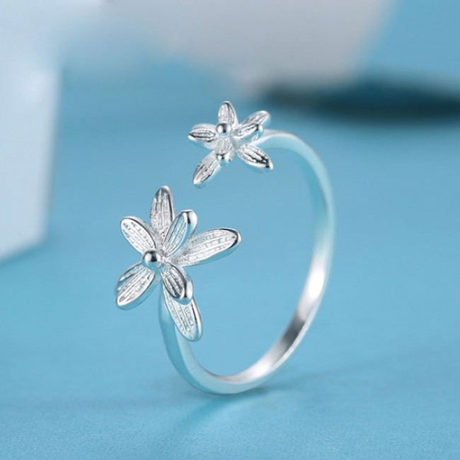 Double Flowers Fresh Adjustable Opening Sterling Silver