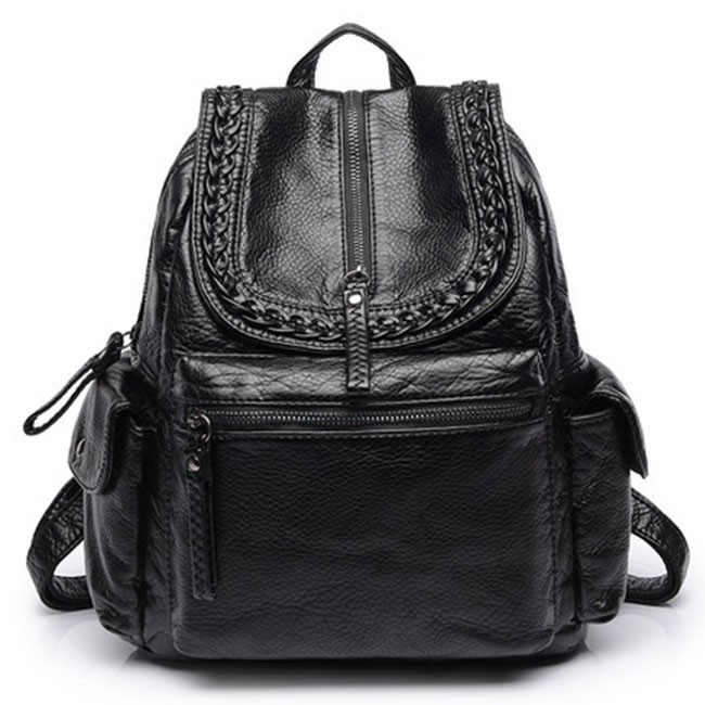 Cool PU Soft Leather Washed British Style Black Weave Leather Backpacks 38cb15b2fba5