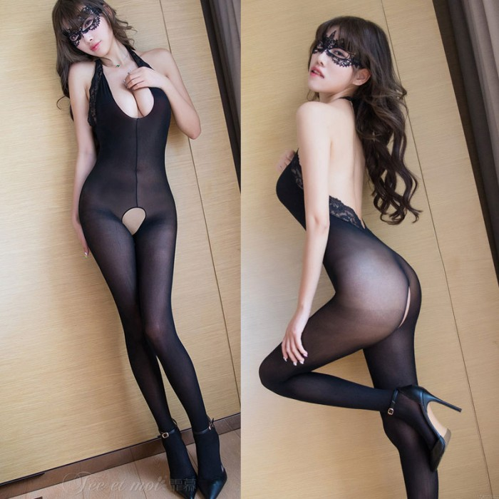 Sexy Teddy For Women Black Deep V Lace Open Crotch Tights Stockings Bodysuit One Piece Lingerie Bodystocking