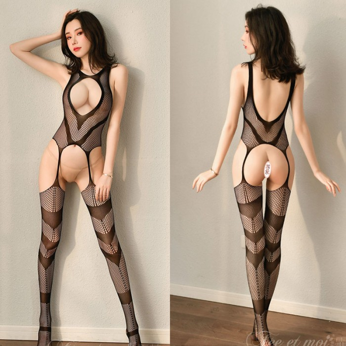 Sexy Black See-through Temptation Hollow out Breasts Open Stockings Bodysuit Teddy For Women One Piece Lingerie Bodystocking