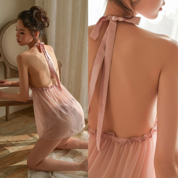 Babydoll For Women Sexy Hollow Transparent Nightgown Lace Bow Backless Chemise Nightdress  Halter Yarn Lingerie