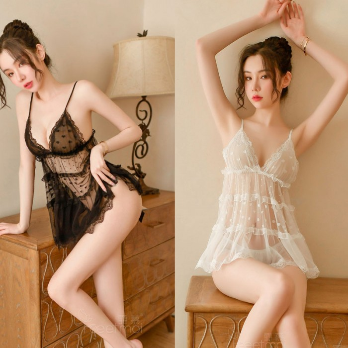 Chemise For Women Sexy Lace Dot Hollow Transparent Nightgown Babydoll Halter Mesh Lingerie