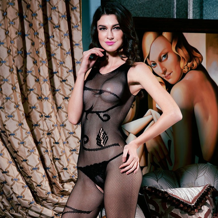 Bodysuit For Women Black Jacquard Hollow Crotchless Temptation One Piece Teddy Stockings Lingerie Bodystocking
