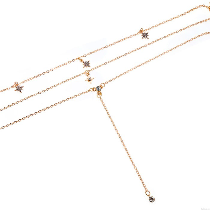 Fashion Gold Crystal Multi-layer Chain Pendant Necklace Women's Combination Set Star Necklace