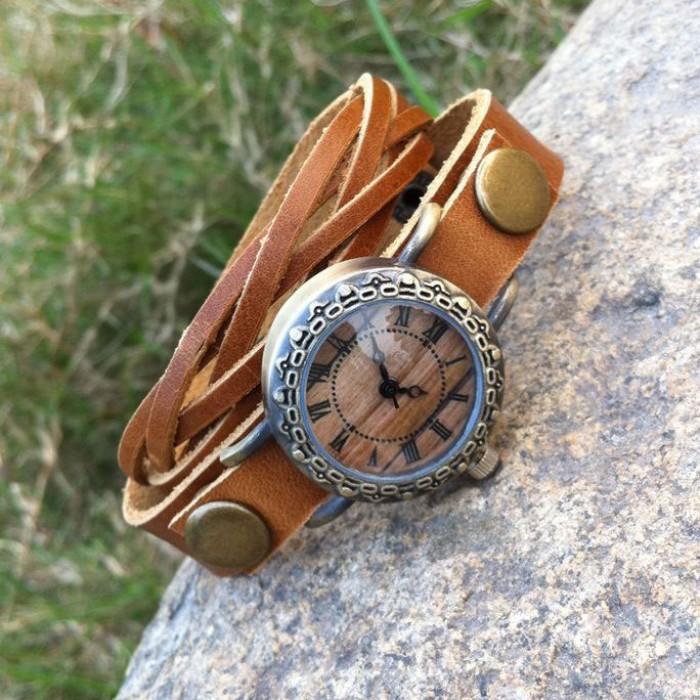 Retro Handmade Rivet Weave Bracelet Watch