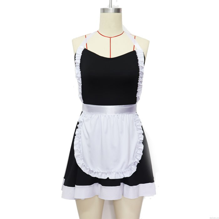 Sexy Bow Maid Uniforms Backless Teen Dress Hot Black Lace Cosplay Girl's Lingerie