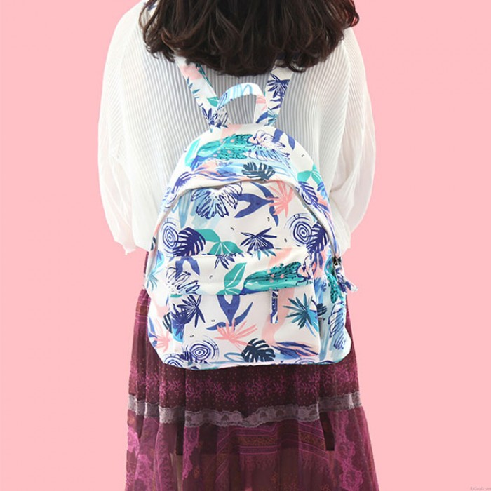 Cute Waterproof Carrot Triangle Cat Leaves Printing School Bag Young Student Backpack