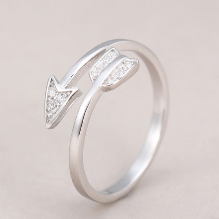 925 Sterling Silver Cupid Arrow Couple Opening Ring