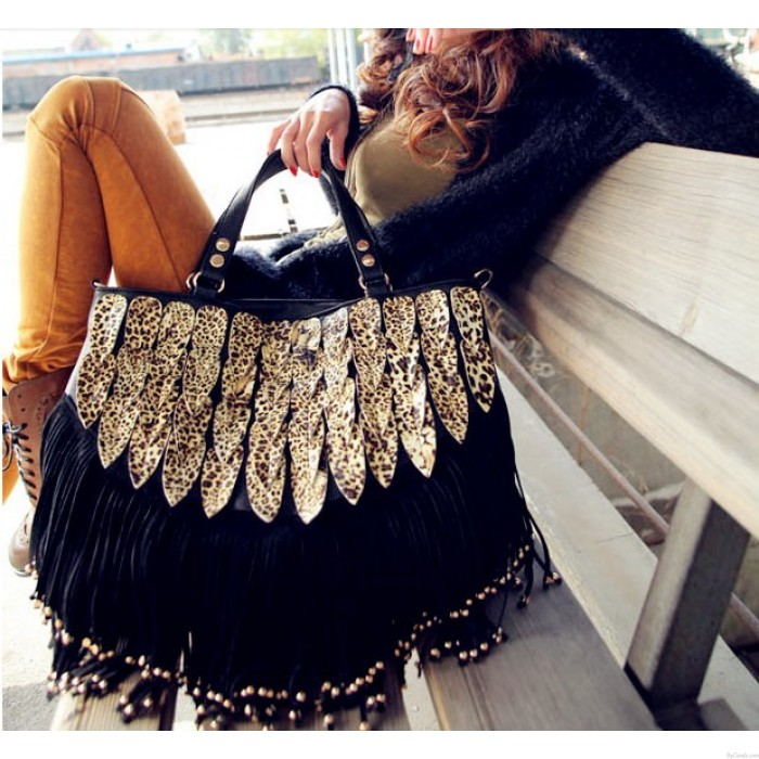 Vintage Shining Leopard Tassel Handbag