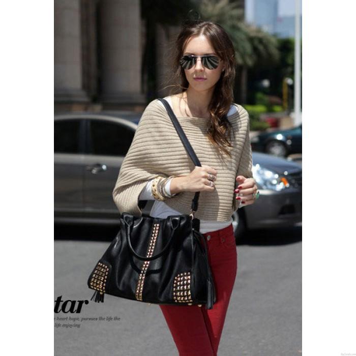 New Classic Fashion Rivets Large Capacity Shoulder Bag Messenger bag Handbag