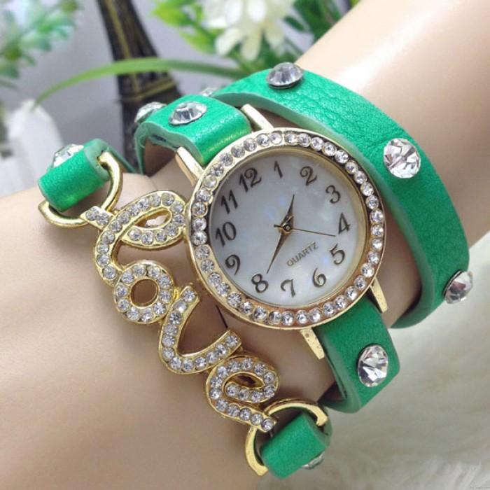 Love Rhinestone Intertwine Bracelet Watch