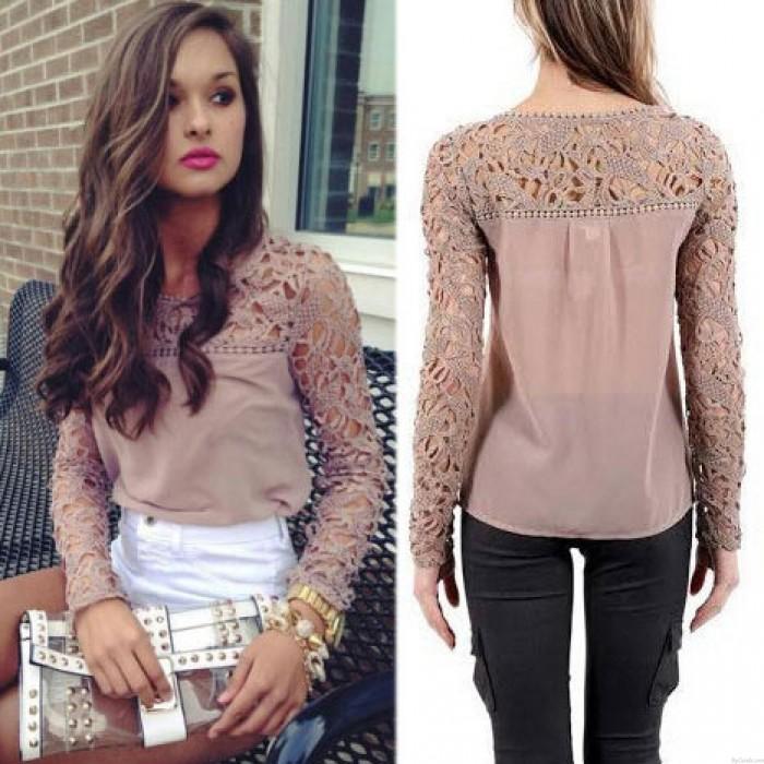 Fashion Hollow Crochet  Long Sleeve Lace Chiffon Blouse Tops