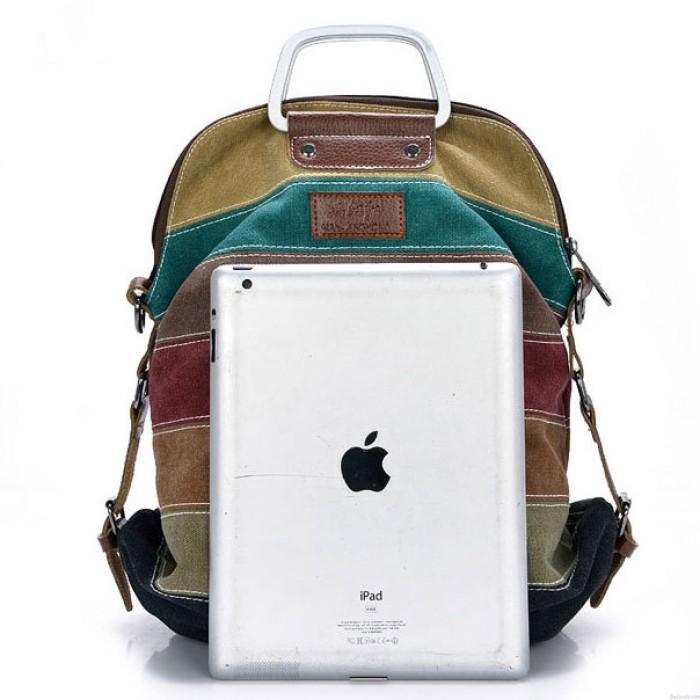 Retro Splicing Colorful Striped Canvas Backpack School Shoulder Bag Handbag Multifunctional Backpacks