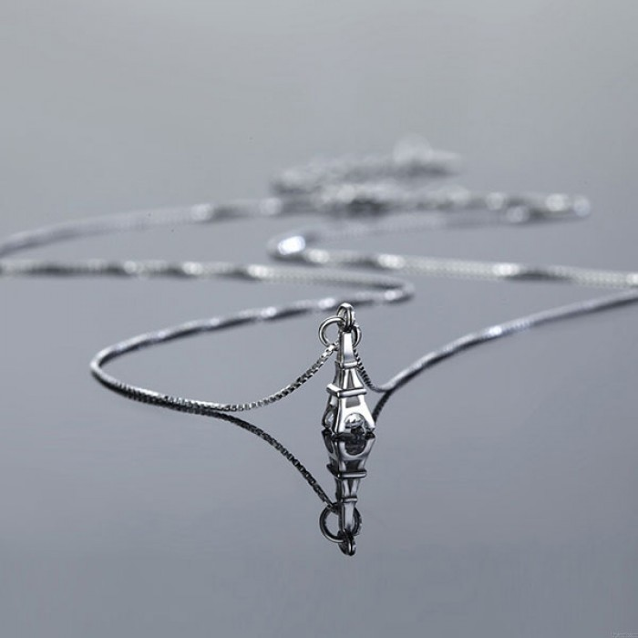 Romantic Tower Zircon Platinum Plating Necklace