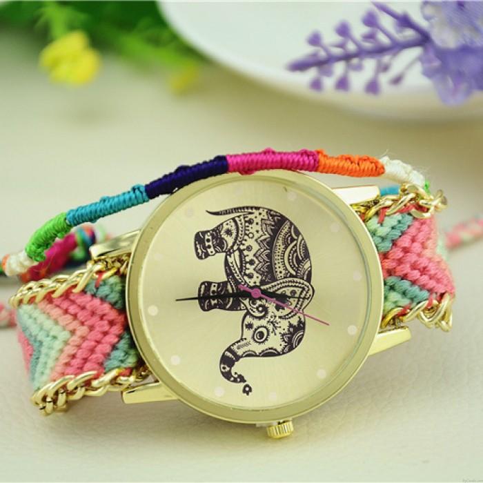 Hollow Elephant Woolen Braided Bracelet Watch