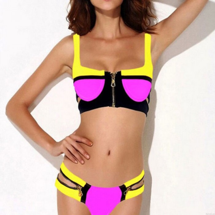 Sexy Zipper Push Up Swimsuit Bikini Swimwear