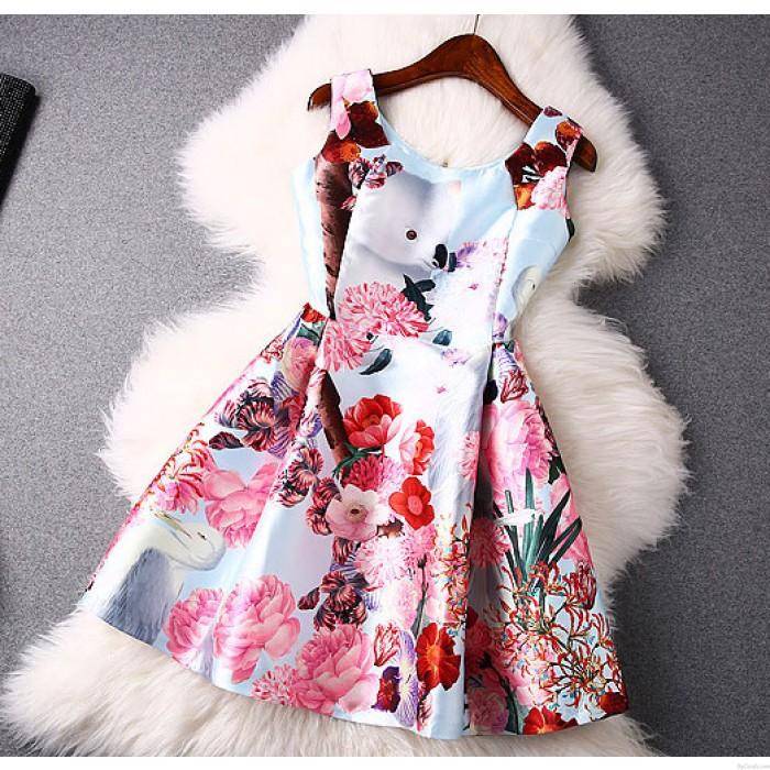 Summer Colorful Flower Print Vest Skirt Dress