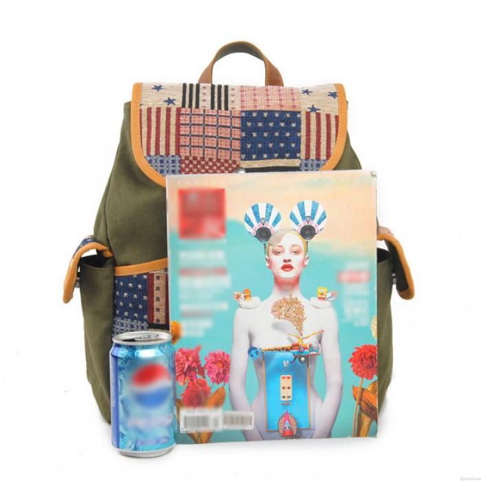 Western style US Flag Retro Stripe Canvas School Bag Backpack