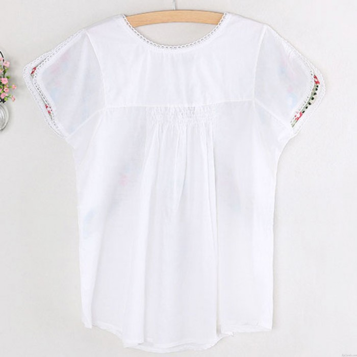 Folk Style Colourful Flowers Embroidery Women's Short Sleeves Shirt