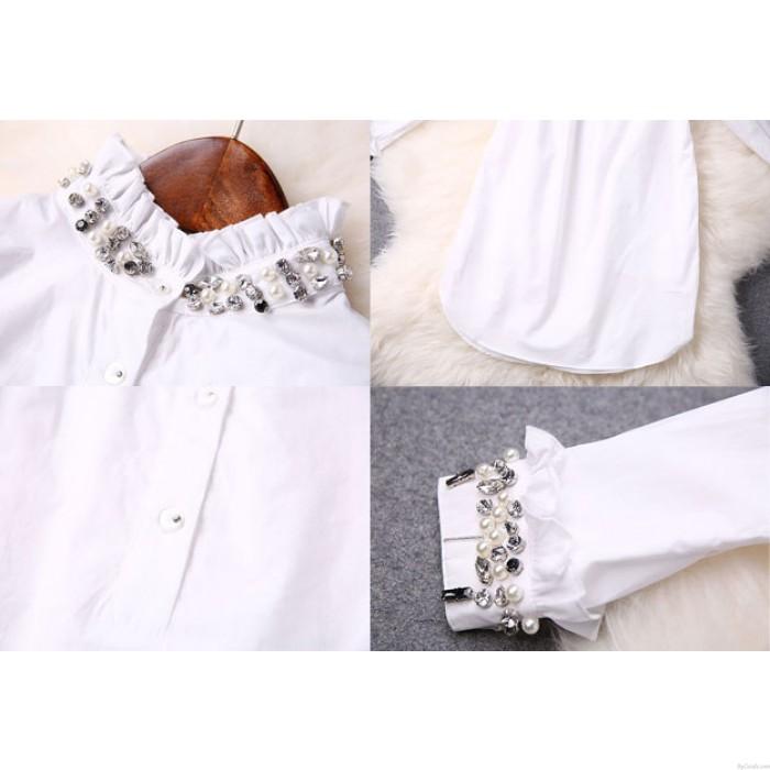 Fashion Neckline Beaded Elegant White Dress Shirt