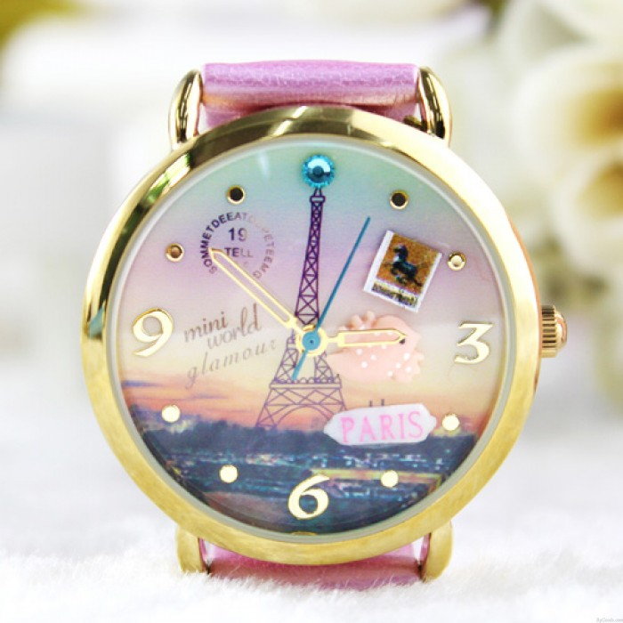 Lovely Princess Eiffel Tower Polymer Clay Watch
