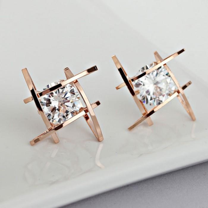 Fashion Unique Tic Tac Toe Triangle Zircon Earrings Studs