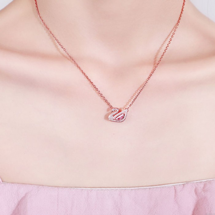 Cute Swan Pink Crystal Rhinestone Pendant Silver Necklace Lover Present Women Necklace