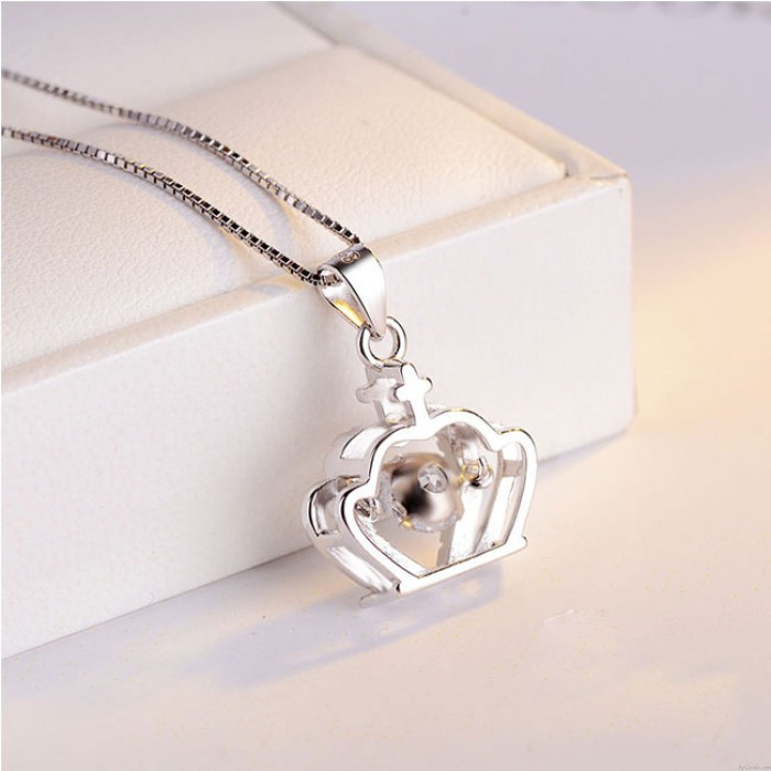 Fashion Crown Diamond Women's Crown Cross Silver Crystal Necklace