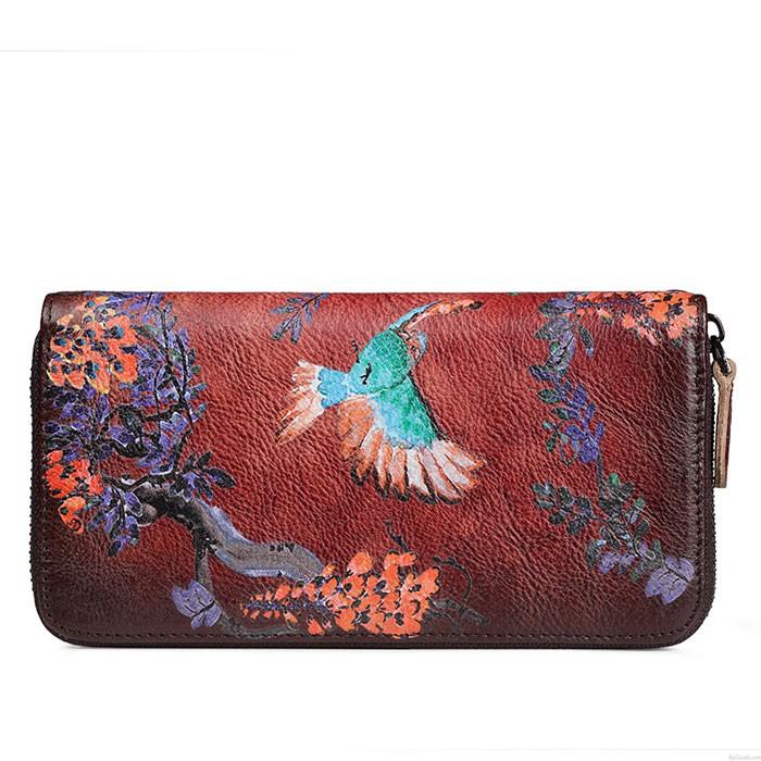 Vintage Original Bird Flower Branch Embossing Purse Single Zipper Phone Clutch Bag Long Large Wallet