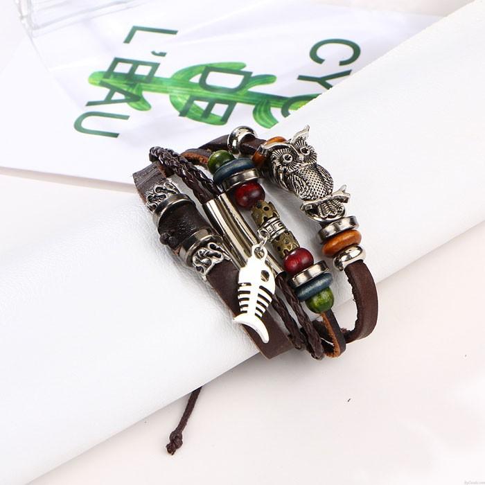 Retro Beaded Leather Multi-layer Alloy Owl Fish Woven Bracelet